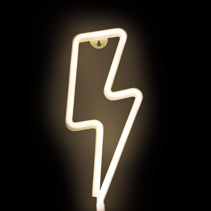 lightning bolt shape neon light