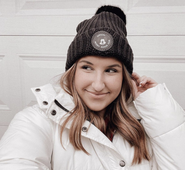 reviewer wearing Love Your Melon Disney beanie