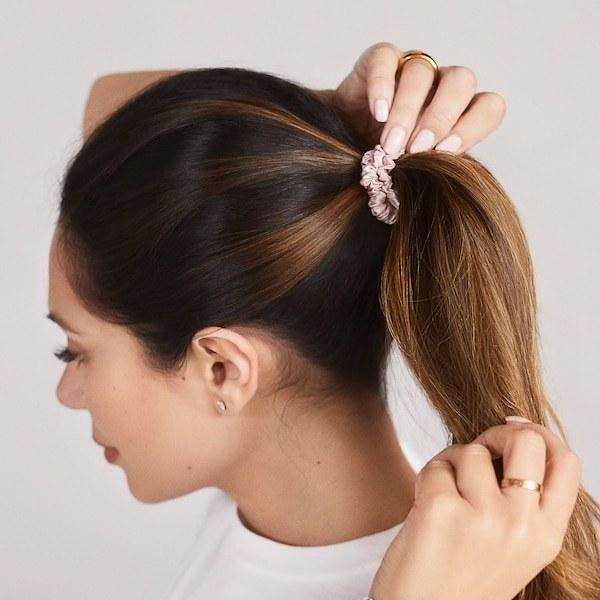 model with a Slip silk scrunchie in their hair