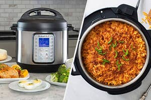 An Instant Pot with plates of food around it, An Instant Pot filled with mac and cheese a sliced jalapenos on top
