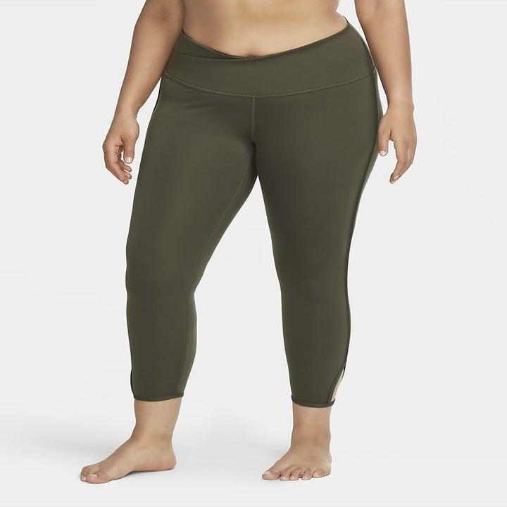 model wearing the olive green leggings
