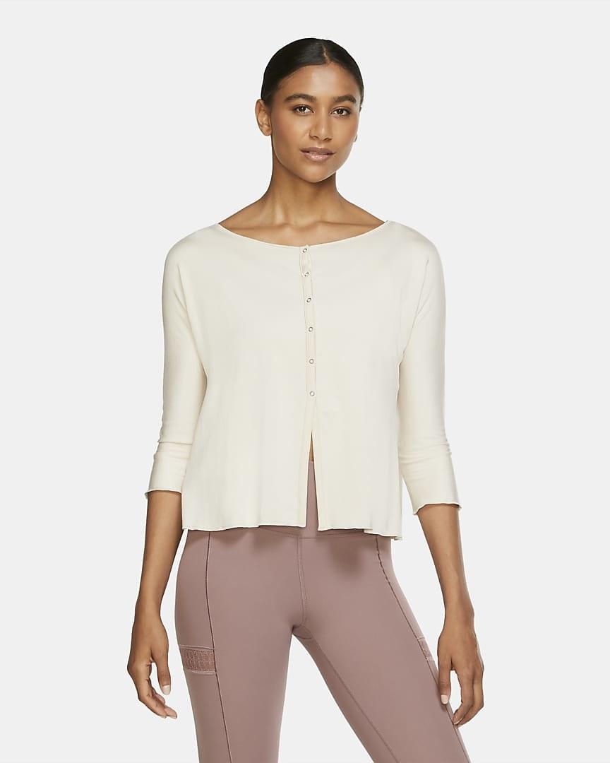 model wearing the white cardigan