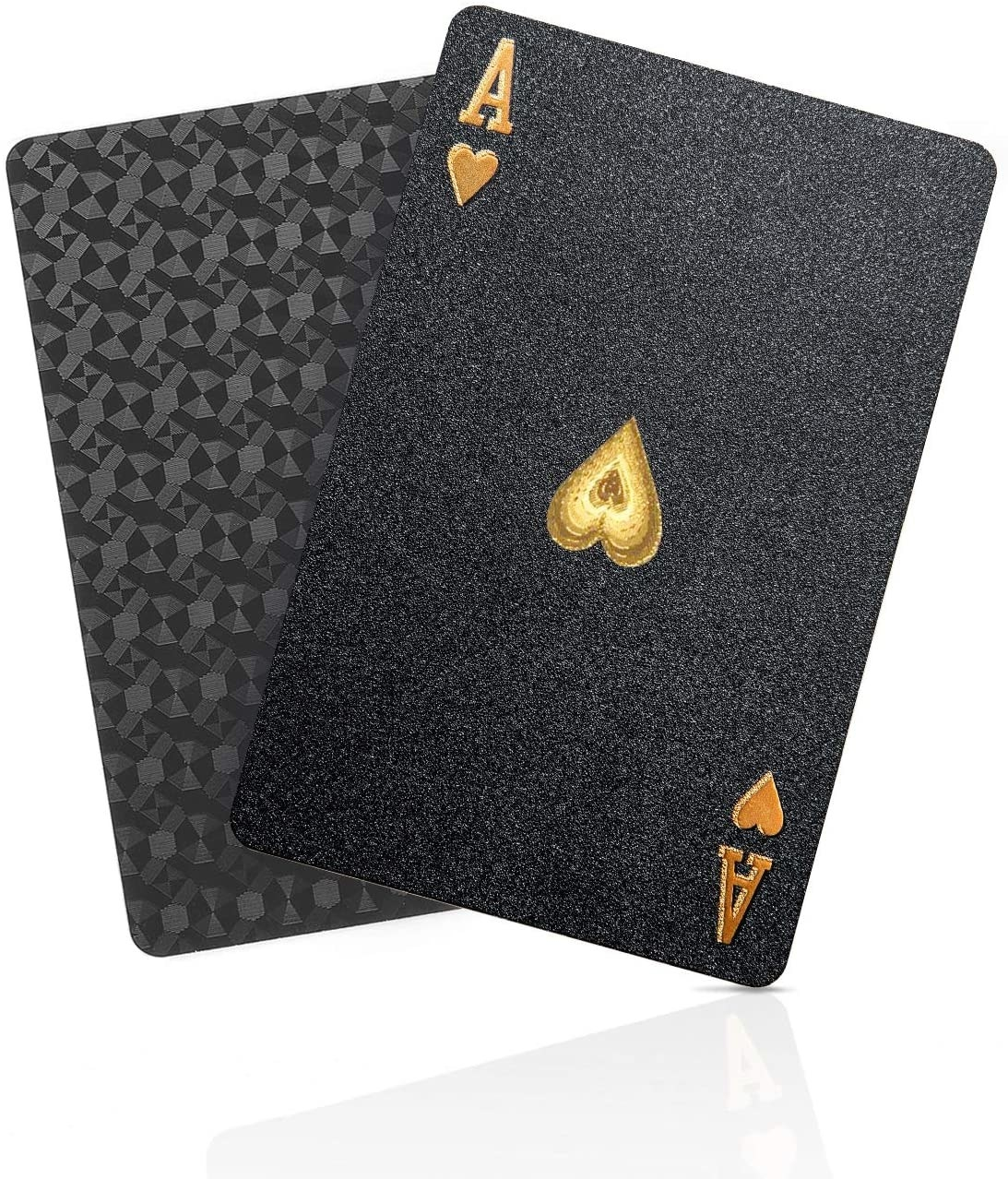 black playing cards with gold tone details