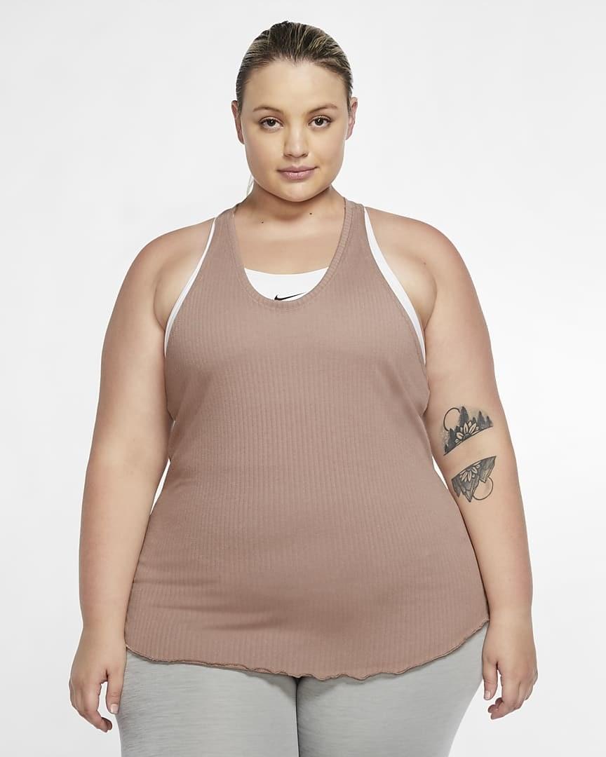 model wearing the light pink tank