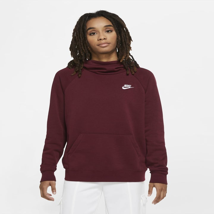 model wearing the burgundy sweater