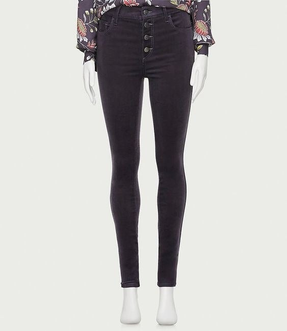 The velvet-y pants in black with four front buttons
