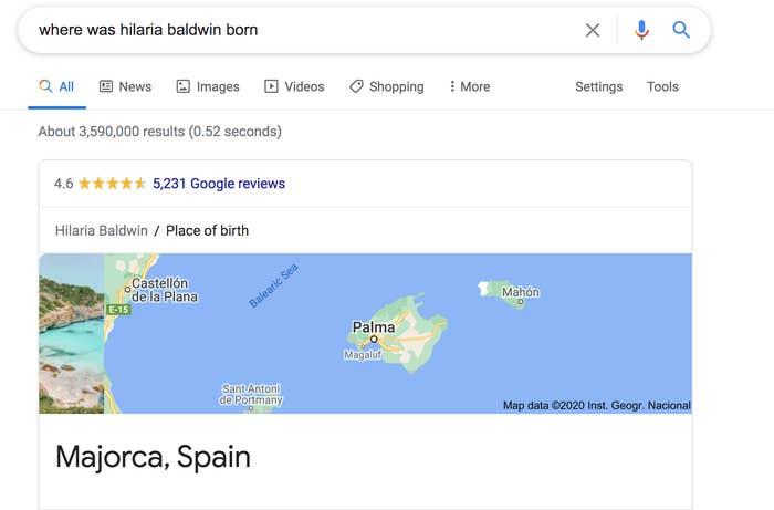A screenshot of a Google search on where Hilaria Baldwin was born