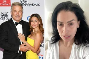 Hilaria and Alec Baldwin on the red carpet next to a still of Hilaria from her Instagram video