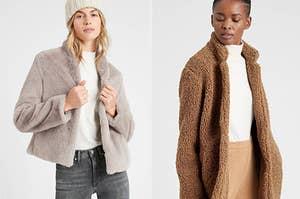 faux fur jacket next to teddy coat
