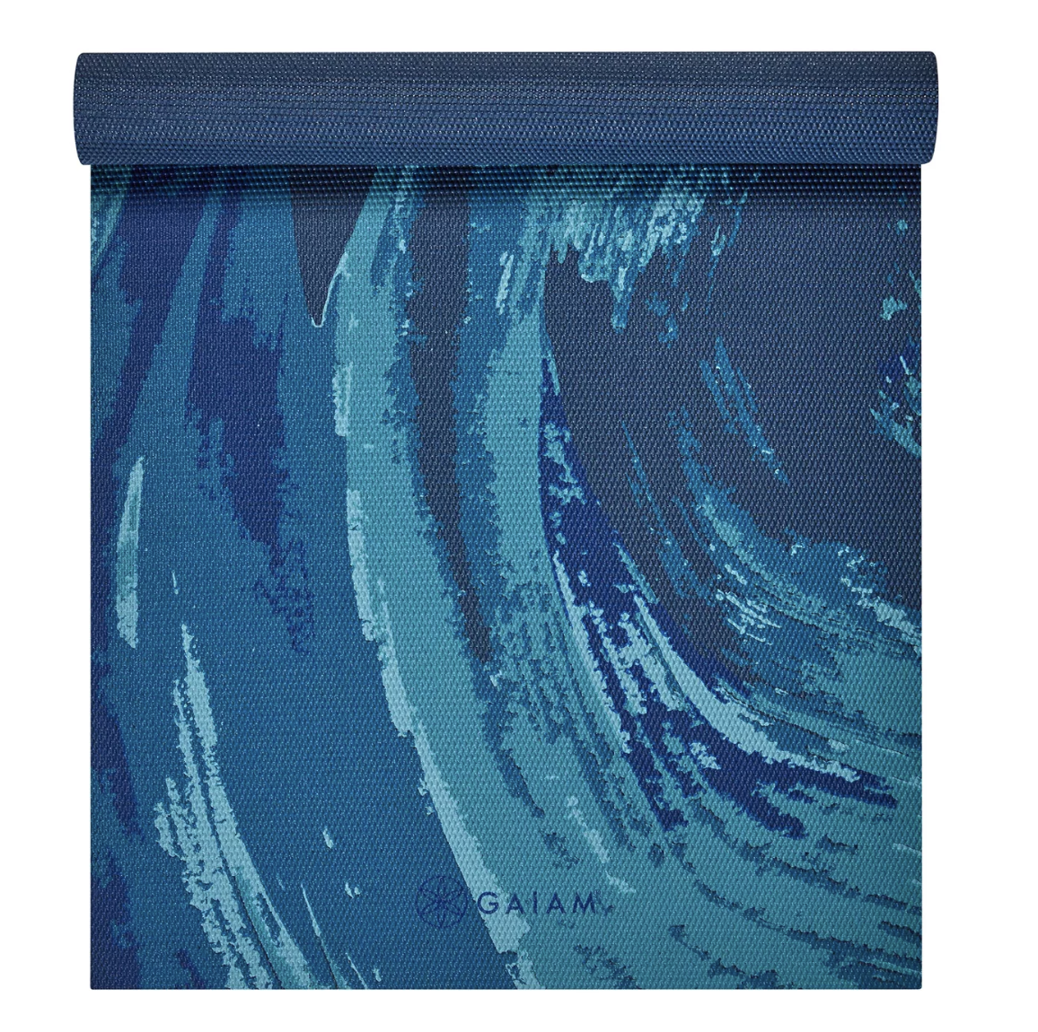 Blue wave printed yoga mat