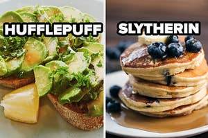 hufflepuff avocado toast and slytherin blueberry pancakes