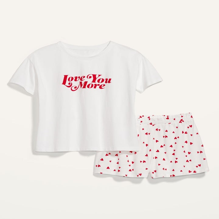 """a white tee that says """"love you more"""" on it and matching shorts with tiny red hearts on them"""