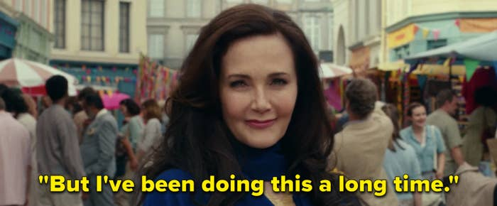 """Lynda Carter in Wonder Woman 1984 saying, """"But I've been doing this a long time"""""""