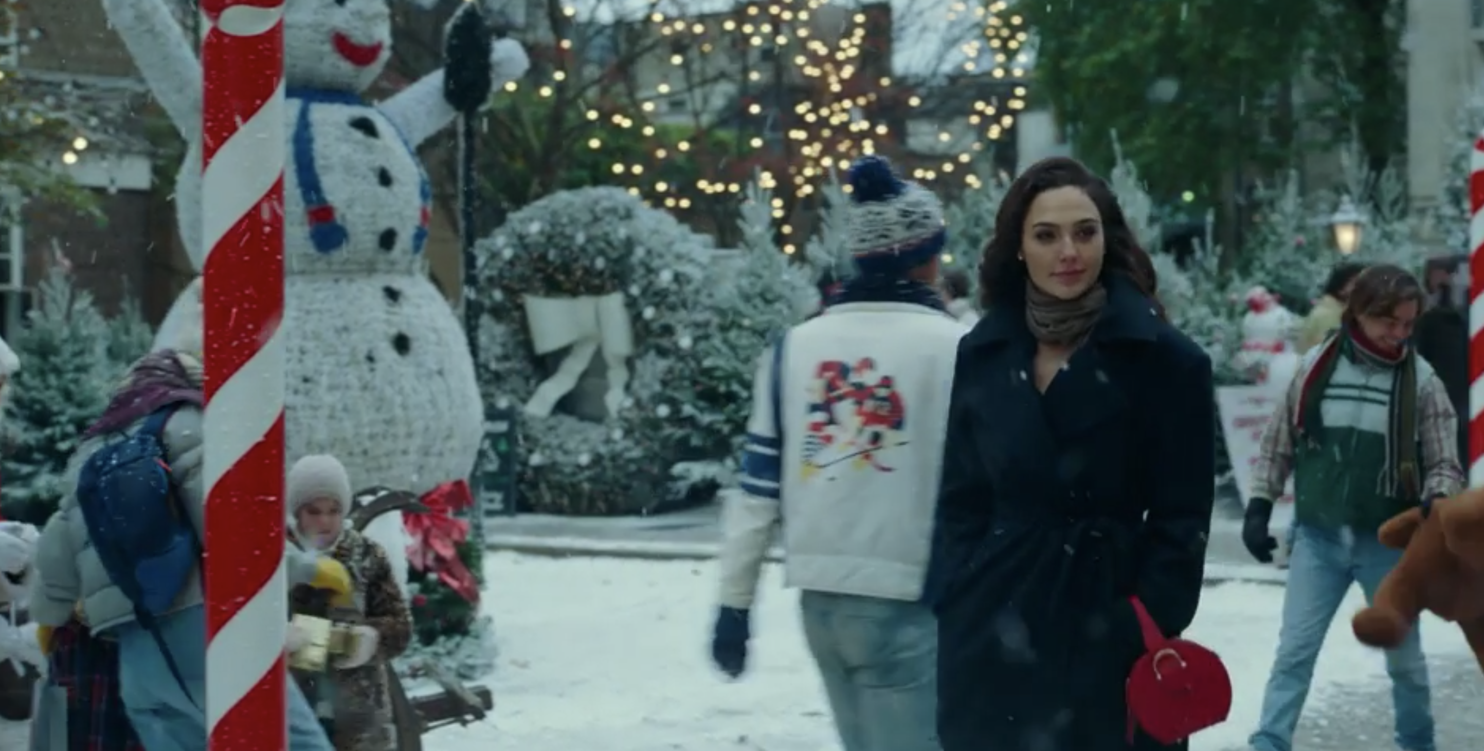 Diana walking through a Christmas market