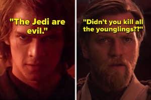 Ewan McGregor as Obi-Wan Kenobi and Hayden Christensen as Anakin Skywalker in the