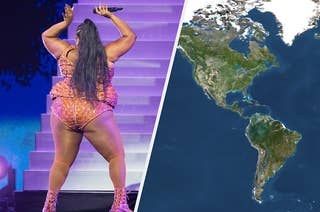 A split thumbnail shows performer Lizzo dancing on the left and a map of the world on the right