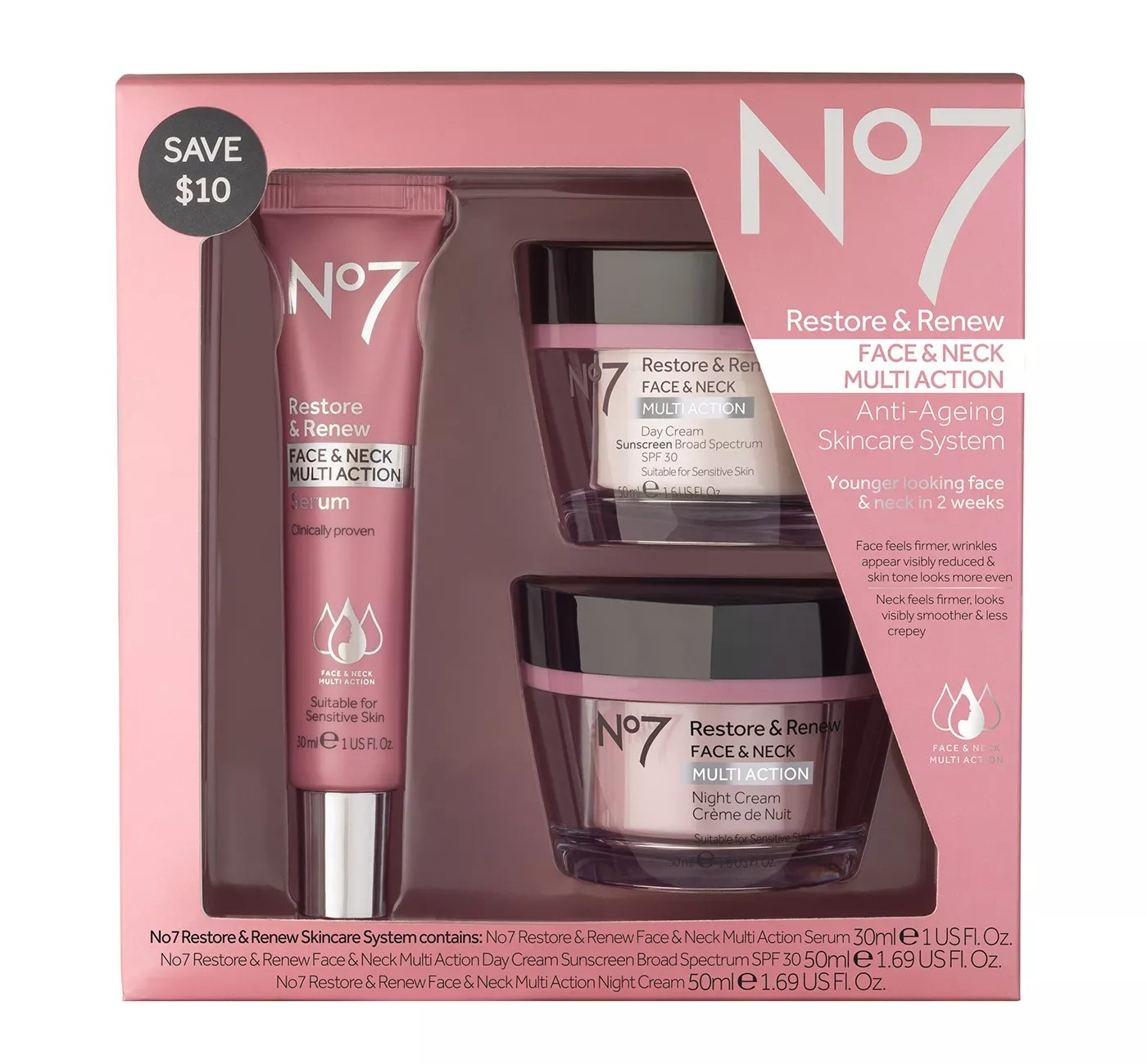 No7 Restore & Renew Face & Neck Multi-Action Anti-Ageing Skincare System