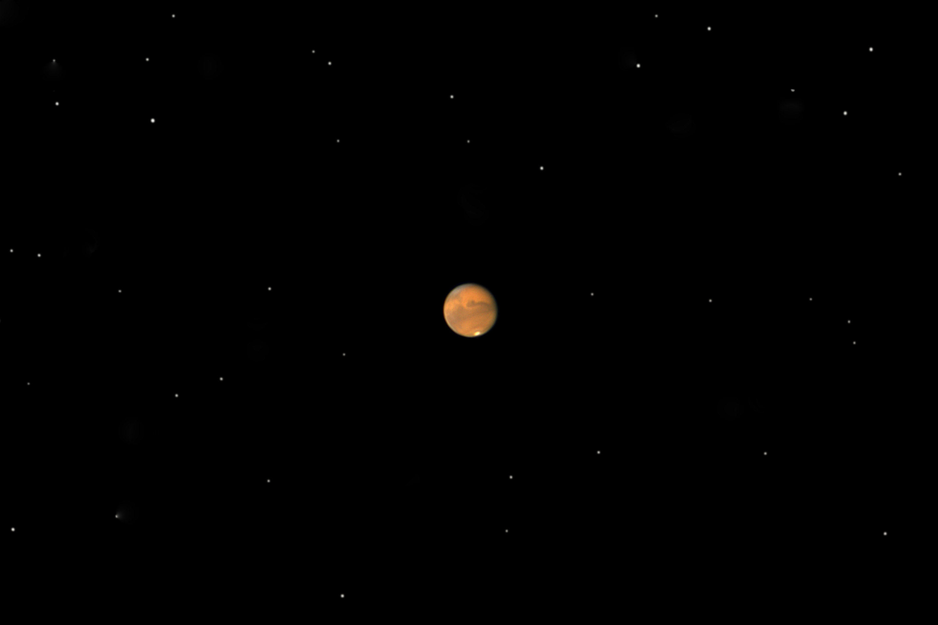 A view of Mars from a telescope