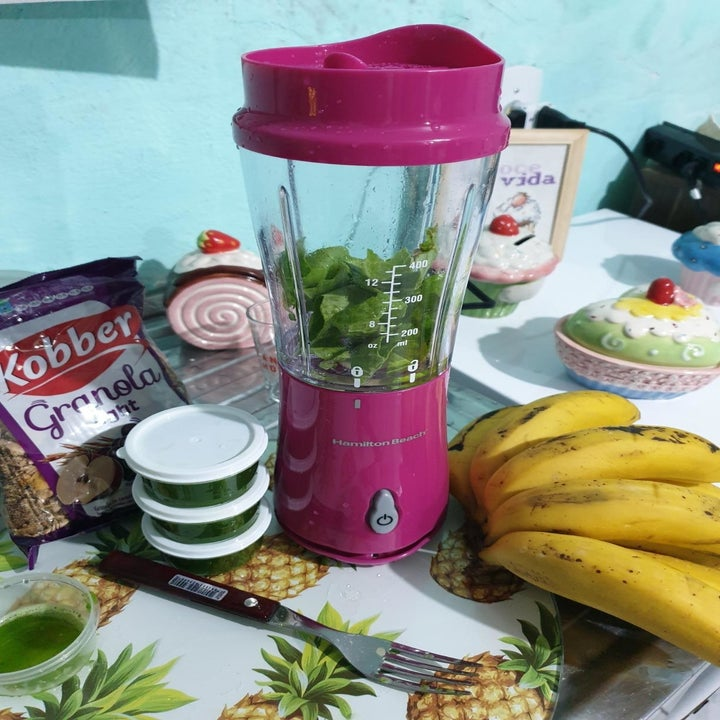Reviewer blender on table next to fruits