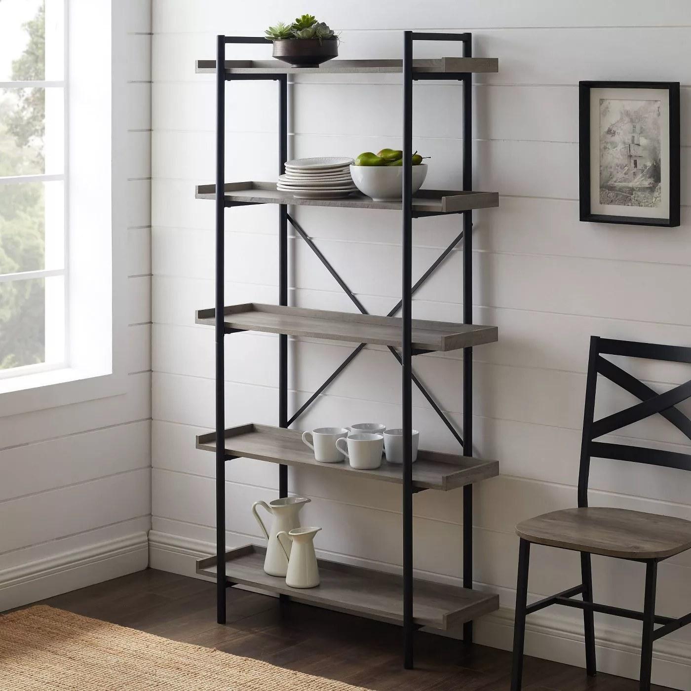 The bookshelf in gray