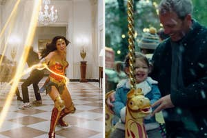 Gal Gadot as Wonder Woman and her daughter and husband in Wonder Woman 1984