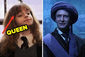 On the left, Hermione on the train with an arrow pointing to her and