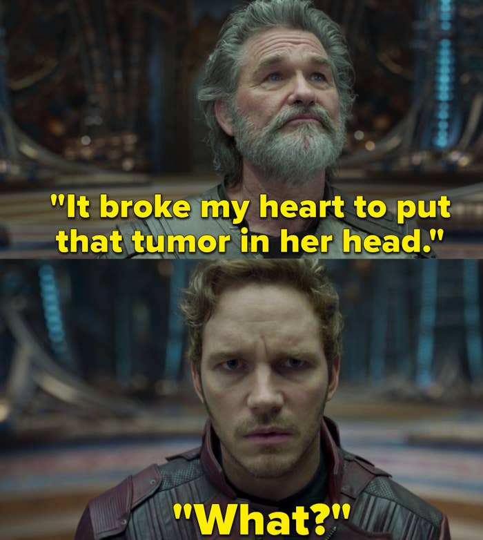 """Chris Pratt as Peter Quill / Star-Lord and Kurt Russell as Ego in the movie """"Guardians of the Galaxy Vol. 2."""""""