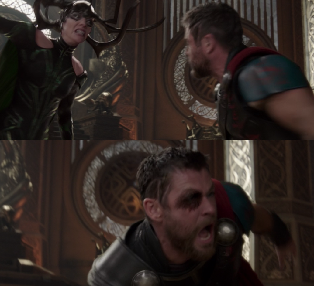 """Chris Hemsworth as Thor and Cate Blanchett as Hela in the movie """"Thor: Ragnarok."""""""