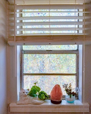 Iridescent privacy film on reviewer's window above Himalayan Salt Lamp and cat plant pot
