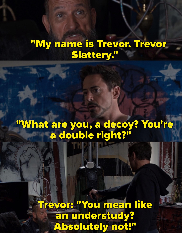 "Robert Downey Jr. as Tony Stark / Iron Man and Ben Kingsley as Trevor Slattery in the movie ""Iron Man 3."""