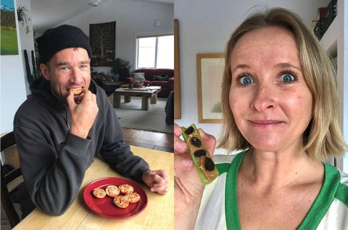 Man eating Bagel Bites, woman eating ants on a log