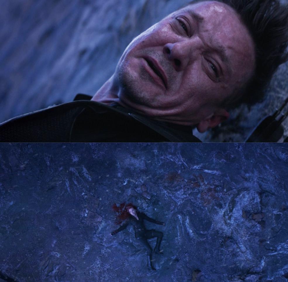 "Scarlett Johansson as Natasha Romanoff / Black Widow and Jeremy Renner as Clint Barton / Hawkeye in the movie ""Avengers: Endgame."""