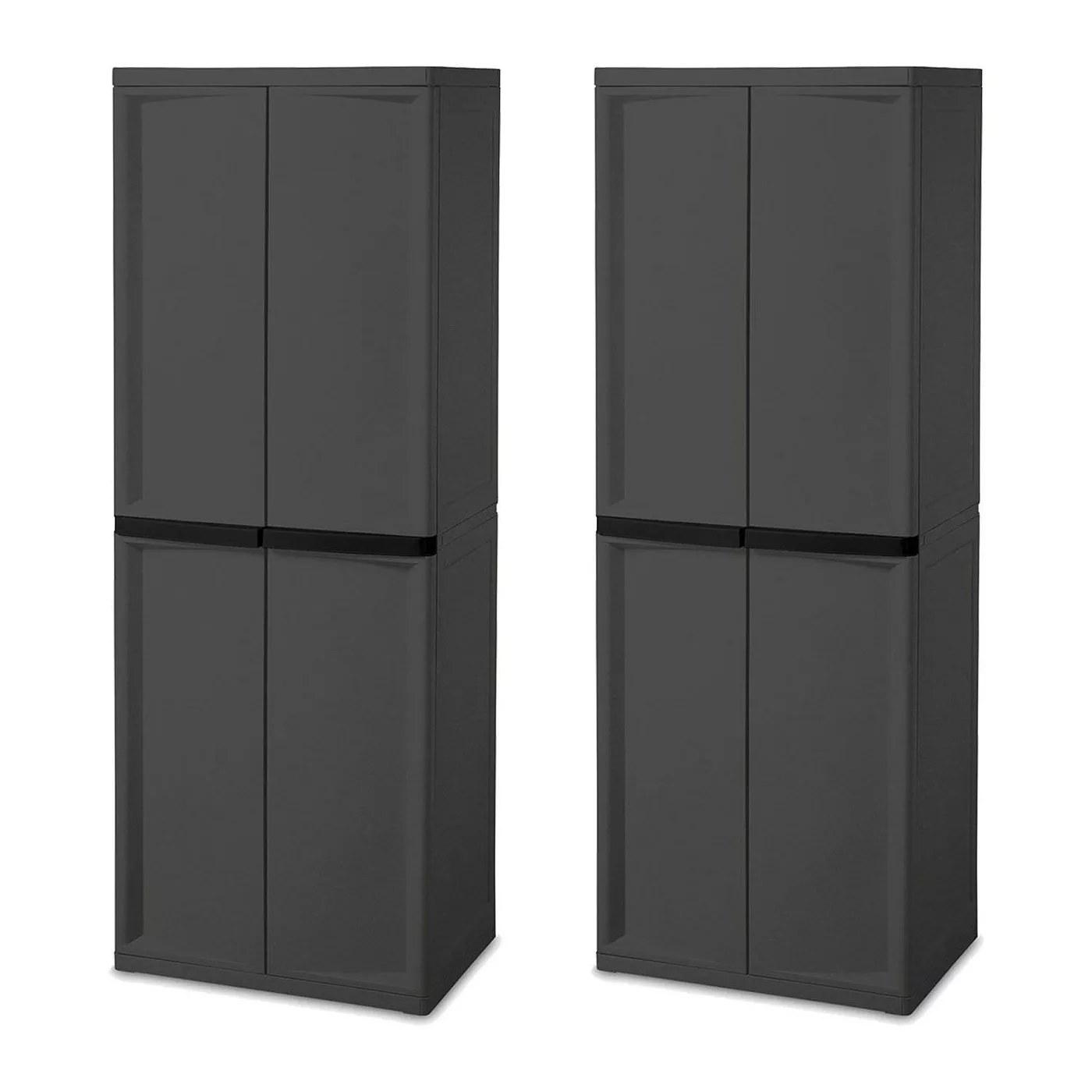 The black 4-shelf storage cabinets