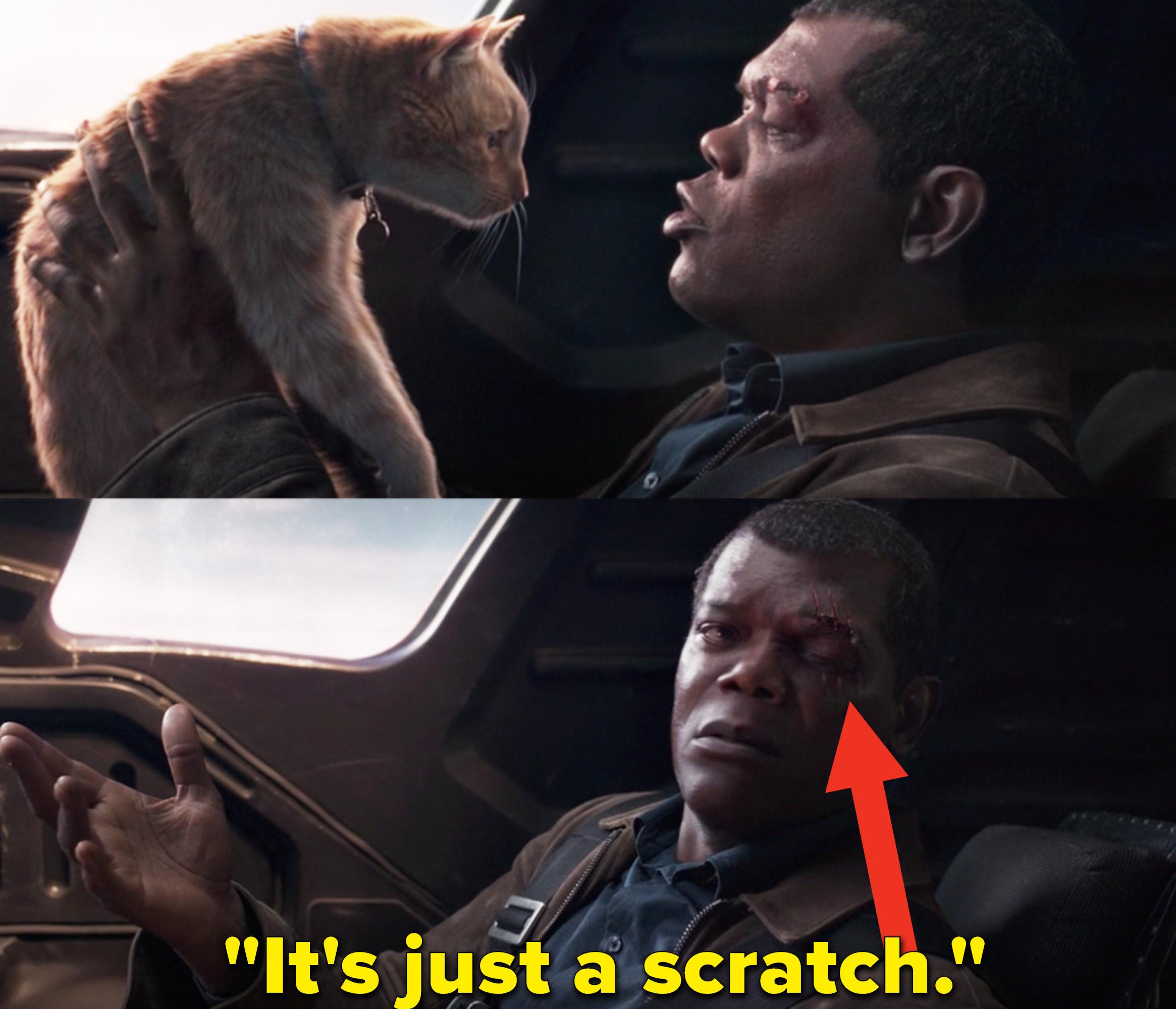 "Samuel L. Jackson as Nick Fury in the movie ""Captain Marvel."""