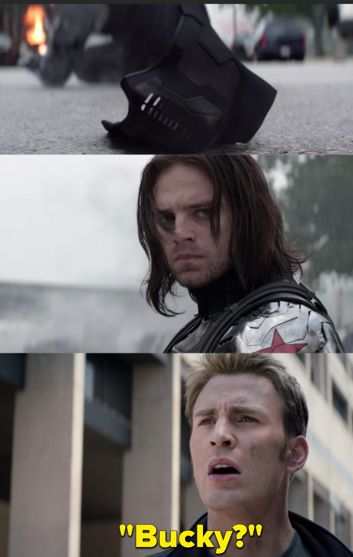 "Chris Evans as Steve Rogers / Captain America and Sebastian Stan as Bucky Barnes / Winter Soldier in the movie ""Captain America: Winter Solider."""