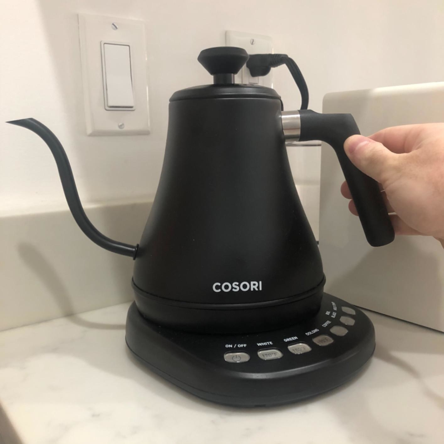 A reviewer's photo of gooseneck kettle on their kitchen countertop