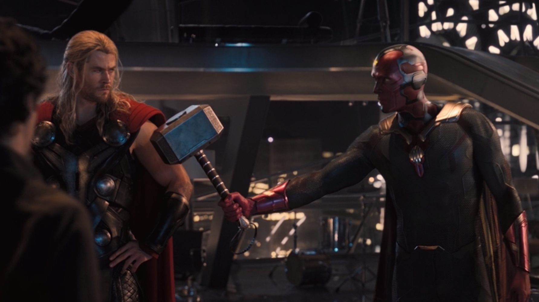 """Chris Hemsworth as Thor and Paul Bettany as J.A.R.V.I.S. and Vision in the movie """"Avengers: Age of Ultron."""""""