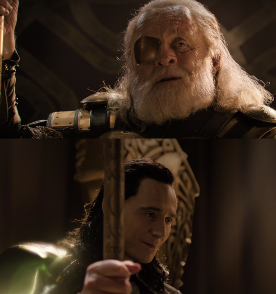 """Tom Hiddleston as Loki and Anthony Hopkins as Odin in the movie """"Thor: The Dark Wold."""""""