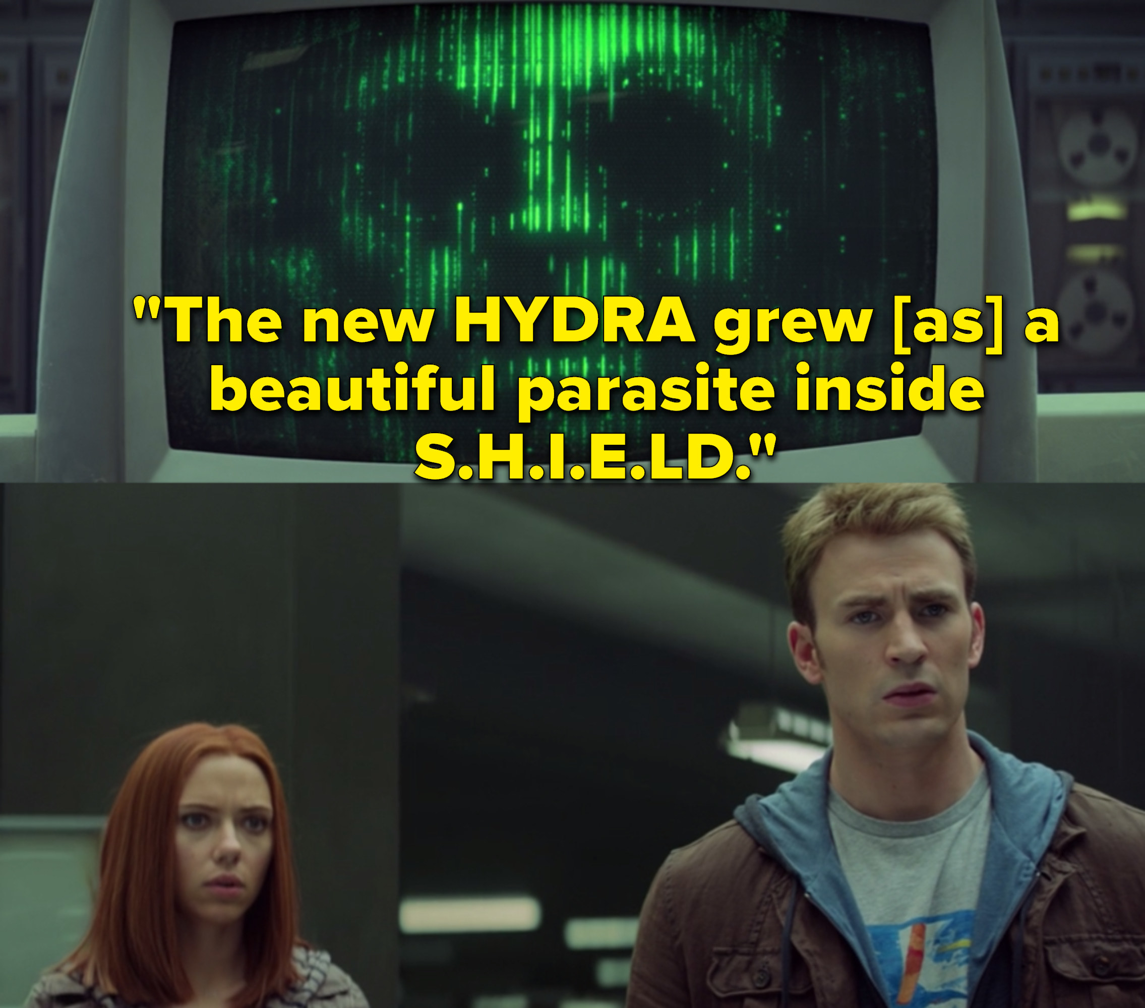 "Chris Evans as Steve Rogers / Captain America, Scarlett Johansson as Natasha Romanoff / Black Widow, and  Toby Jones as  Arnim Zola in the movie ""Captain America: The Winter Solider."""