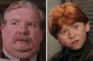 On the left, Vernon Dursley with wide eyes, and on the right, Ron Weasley tilting his head in confusion