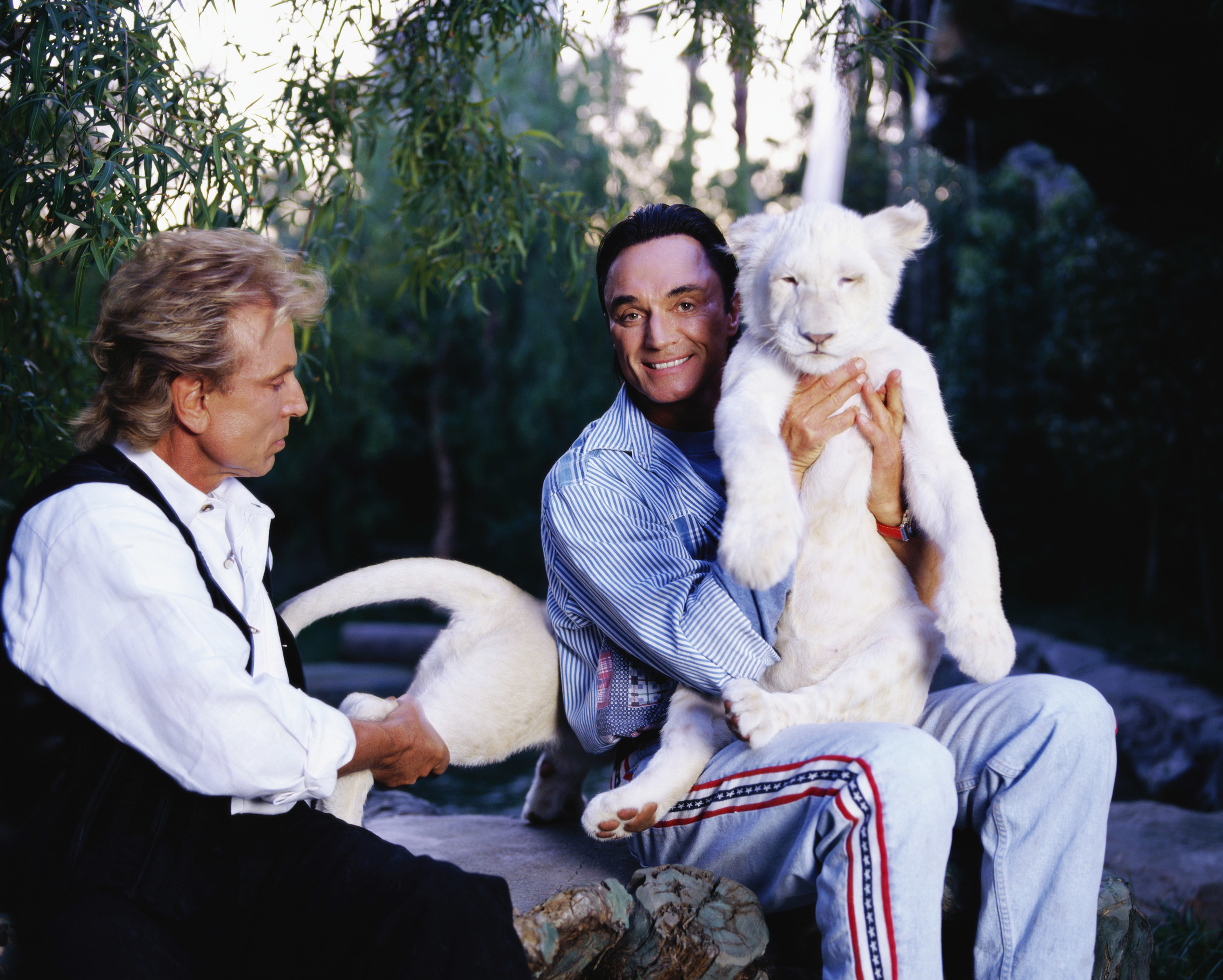 Two men seated outside, one man has a small white tiger on his lap that he is holding up for the camera