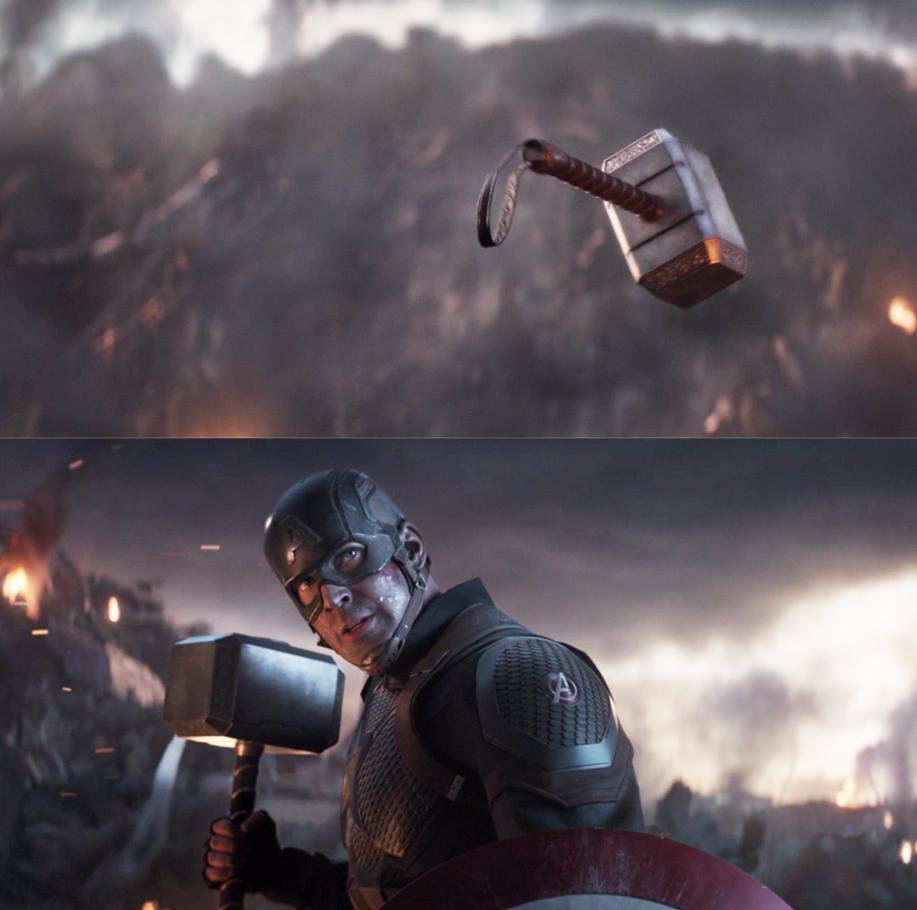 """Chris Evans as Steve Rogers / Captain America in the movie """"Avengers Endgame."""""""