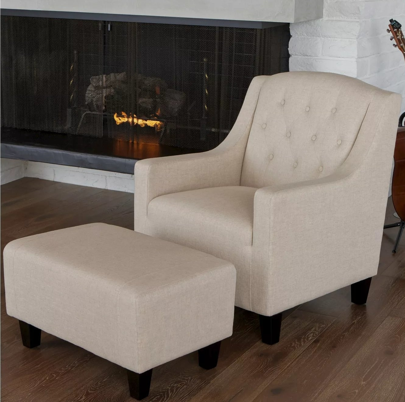 The chair and ottoman in beige