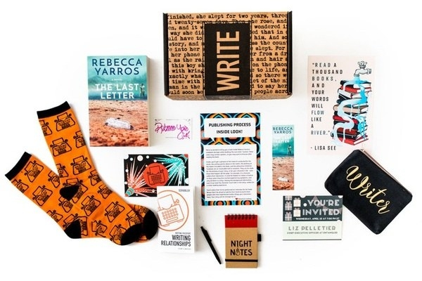 the box which includes writing themed gifts and books on writing tips