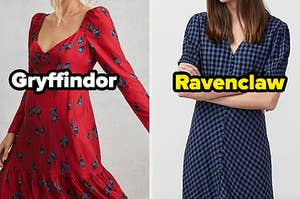 "A red dress is on the left labeled, ""Gryffindor"" with a blue dress on the right labeled, ""Ravenclaw"""