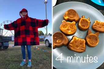 On the left, a reviewer in an oversized fleece hoodie. On the right, animal face shaped waffles with the text