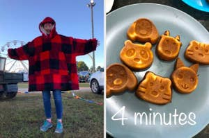 "On the left, a reviewer in an oversized fleece hoodie. On the right, animal face shaped waffles with the text ""4 minutes"""