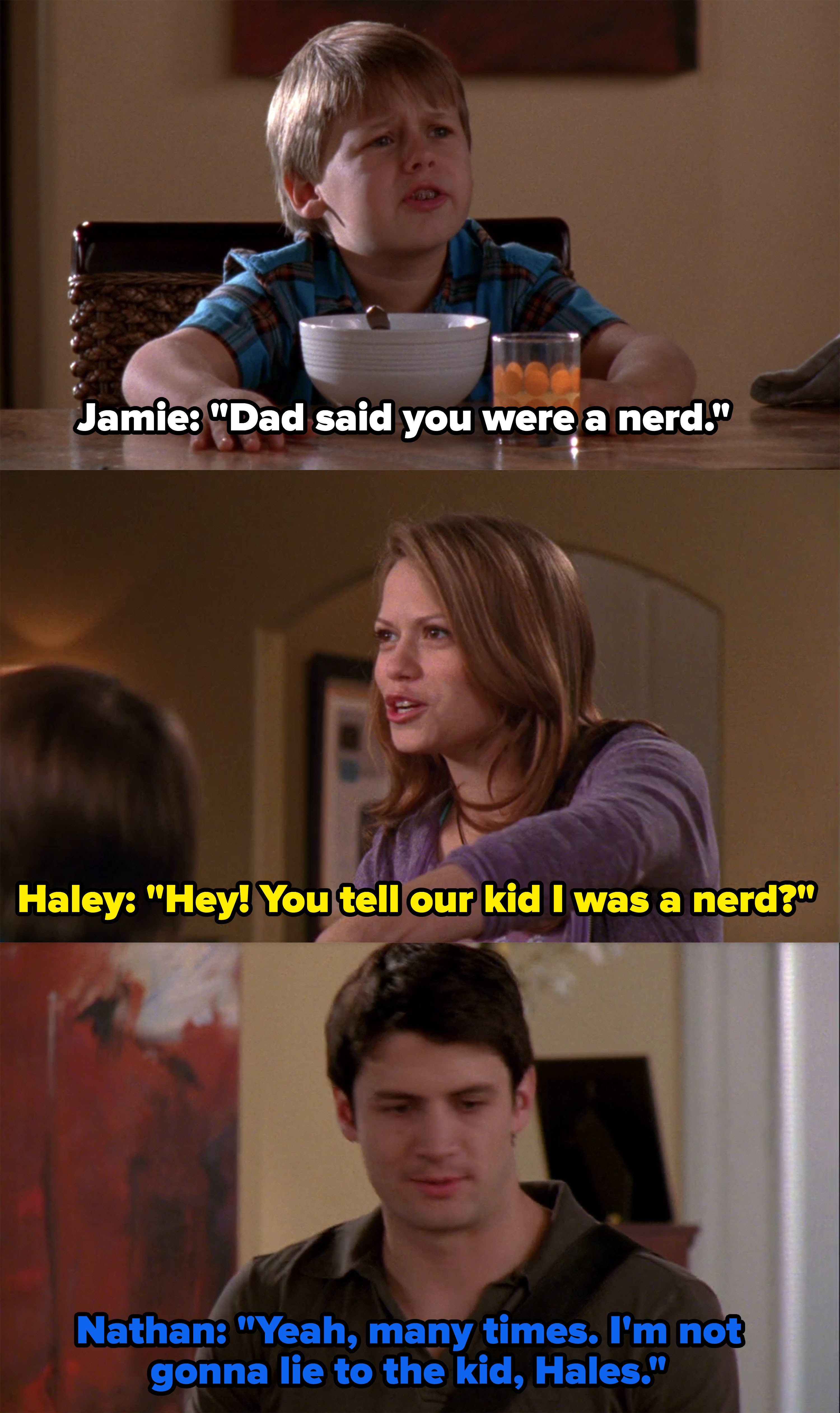 Jamie says Nathan told him Haley was a nerd in school