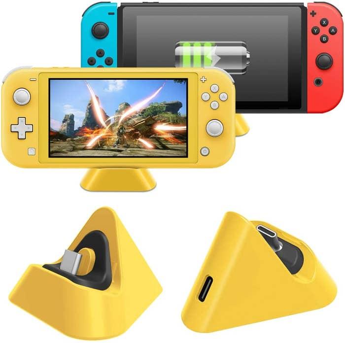 Nintendo Switch triangular yellow charging dock