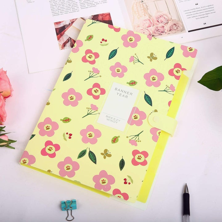 the floral folder in yellow and pink